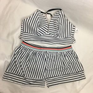 Cacique White Striped 2 Piece Swimsuit 22/24 NEW